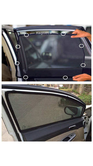 Car Magnetic Window Sun Shades For hatchback (4 Pcs.) jet black